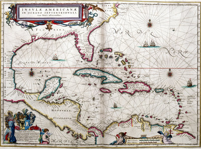 Gulf of Mexico and the Caribbean, from Blaeu's 'Atlas of the Americas' by John Blaeu - print