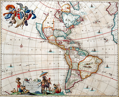 Sheet from Bleau's 'Atlas of the Americas' by John Blaeu - print