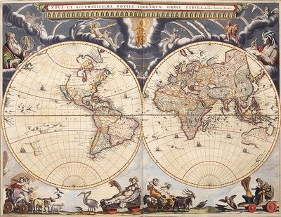 World map from the Blaeu Atlas, 17th century by John Blaeu - print