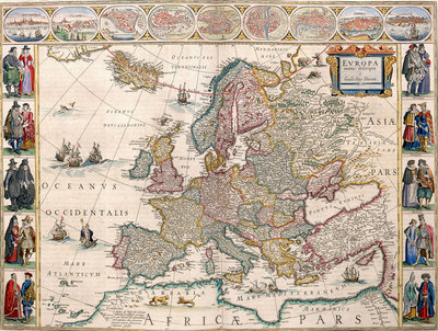 Map of Europe from the Blaeu Atlas, 17th century by John Blaeu - print