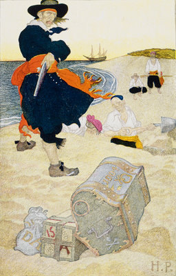 Pirate William Kidd buries treasure on Gardiner's Island by Howard Pyle - print