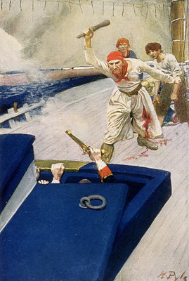 A pirate attack through the hatch of a ship by Howard Pyle - print