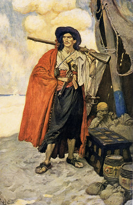A colourful pirate or buccaneer by Howard Pyle - print