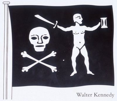 The Jolly Roger of Walter Kennedy (died 19 July 1721), Irish pirate who served under Howell Davis and Bartholomew Roberts, featuring skull and crossbones, sword and sailor on the flag by unknown - print