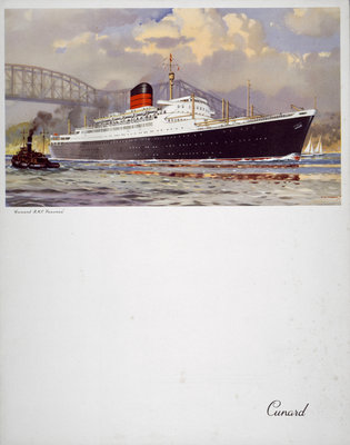 Front cover of Cunard menu featuring RMS 'Saxonia' with a tug alongside by unknown - print
