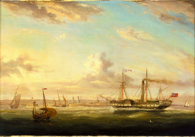 The paddle steamer Superb off Folkstone by William Adolphus Knell - print