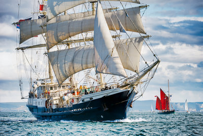'Tenacious' participating in the parade of sail, Hartlepool Tall Ships Regatta 2010 by Richard Sibley - print