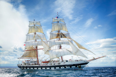 The brig 'Stavros S Niarchos' underway at the start of the North Sea Regatta 2010 by Richard Sibley - print