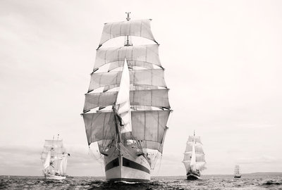 'Shabab Oman', 'Mir' and 'Roald Amundsen' crossing the start line at Port Rush for the first leg of the 2008 Liverpool Tall Ships Race to MalÔòá┬│y in Norway by Richard Sibley - print