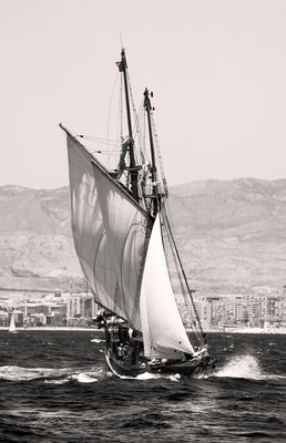 The Gaff Schooner 'Far Barcelona' built 1874 underway during the Tall ship race from Alicante 2007 by Richard Sibley - print