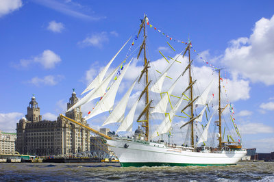 Mexican 3 masted barque 'CuauhtÔòá┬«moc', passing the Royal Liver Building during the parade of sail, Mersey River, Liverpool Tall Ships Race 2008 by Richard Sibley - print