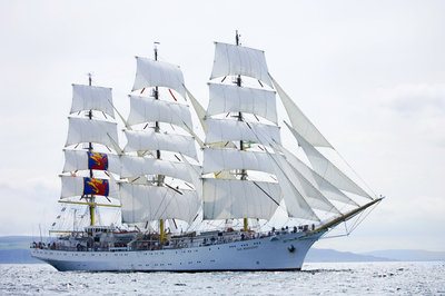 Polish full-rigged ship 'Dar Mlodziezy' underway at Port Rush for the first leg of the 2008 Liverpool Tall Ships Race to MalÔòá┬│y in Norway by Richard Sibley - print