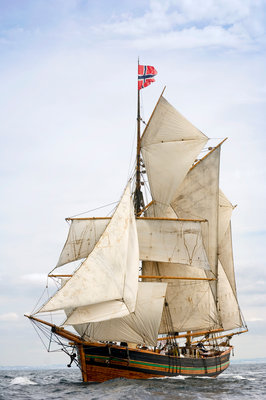 Norwegian topsail ketch 'Svanhild' under full sail at Port Rush for the first leg of the 2008 Liverpool Tall Ships Race to MalÔòá┬│y in Norway by Richard Sibley - print