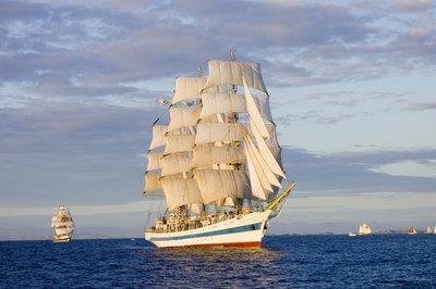 The Russian full-rigged ship 'Mir' at race start at sundown, during Bergen to Den Helder Tall Ships Race 2008 by Richard Sibley - print