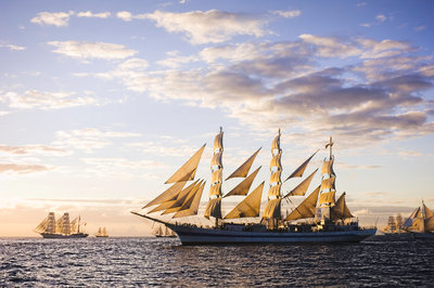 Russian full-rigged ship 'Mir' underway at sunset, Bergen to Den Helder Tall Ships Race 2008 by Richard Sibley - print