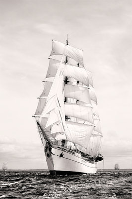 Mexican 3 masted barque 'CuauhtÔòá┬«moc' off Port Rush, bound for MalÔòá┬│y in Norway: first leg of the 2008 Liverpool Tall Ships Race by Richard Sibley - print