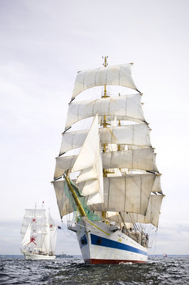 The Russian full-rigged ship 'Mir' with 'Shabab Oman' to starboard, off Port Rush for the first leg of the 2008 Liverpool Tall Ships Race to MalÔòá┬│y in Norway by Richard Sibley - print