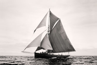 Gaff rigged pilot cutter 'Jolie Brise' off Port Rush, bound for MalÔòá┬│y in Norway, during first leg of the 2008 Liverpool Tall Ships Race by Richard Sibley - print