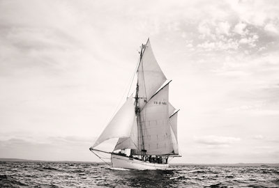 Danish gaff ketch 'Jens Krogh' off Port Rush, bound for MalÔòá┬│y in Norway, during first leg of the 2008 Liverpool Tall Ships Race by Richard Sibley - print