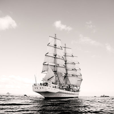 Russian full-rigged ship 'Mir' at Falmouth for the start of the Funchal 500 Tall Ships Regatta, 2008 by Richard Sibley - print