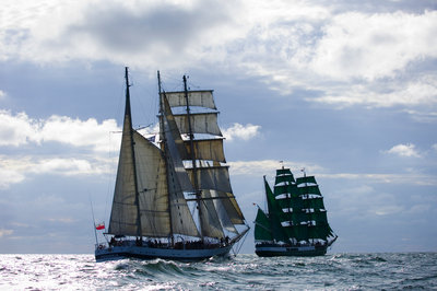 Polish brigantine 'Pogoria' chasing 'Alexander von Humboldt' on route to St Petersburg, during Gdynia Tall Ships Race 2009 by Richard Sibley - print