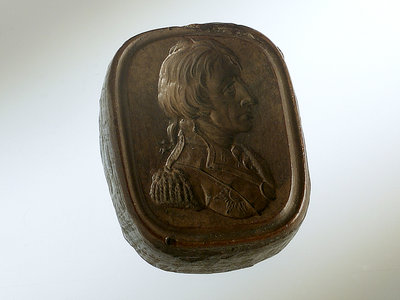 Boxwood seal carved with a profile portrait depicting Vice-Admiral Horatio Nelson (1758-1805) by unknown - print