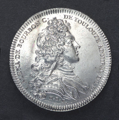 Counter commemorating the dispatch of a squadron to Danzig, 1735; obverse by unknown - print