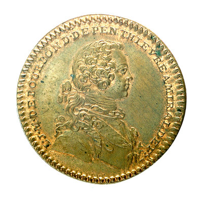 Counter commemorating the defeat of the Pirates of Sales, 1739; obverse by unknown - print