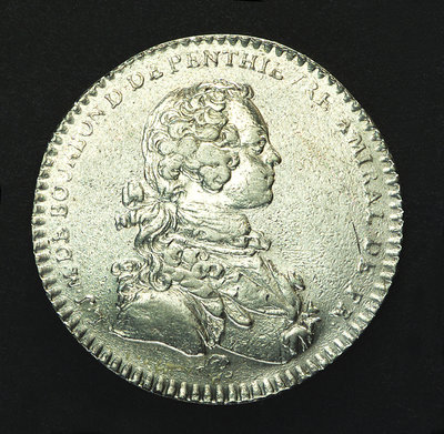 Counter commemorating the landing of the Young Pretender in Scotland, 1746; obverse by J.C. Roettier - print