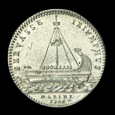 Counter commemorating the landing of the Young Pretender in Scotland, 1746; reverse by J.C. Roettier - print