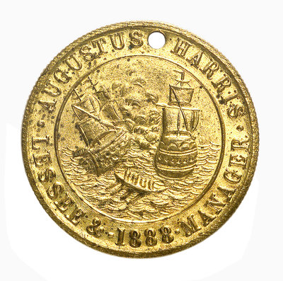 Theatre pass commemorating the tercentenary of the Spanish Armada, 1888; obverse by unknown - print
