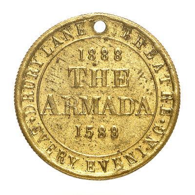 Theatre pass commemorating the tercentenary of the Spanish Armada, 1888; reverse by unknown - print