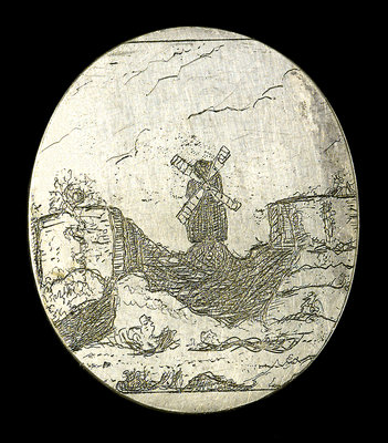 Engraved commemorative coin; reverse by unknown - print