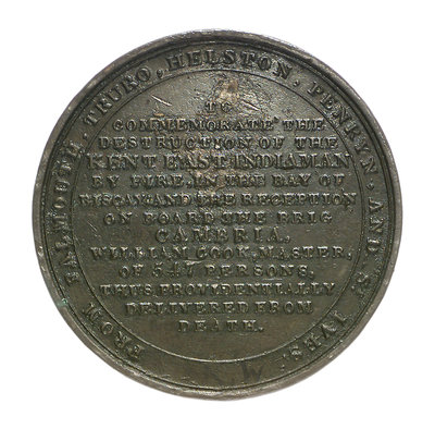 Medal commemorating the loss of the East Indiaman 'Kent', 1825; reverse by Thomas Halliday - print