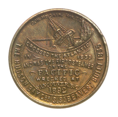 Medal commemorating the wreck of Hudson Bay Company steamer 'Beaver', 1892; obverse by C.W. McCain - print