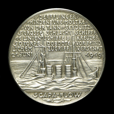 Medal commemorating the scuttling of the German fleet, 1919; reverse by unknown - print