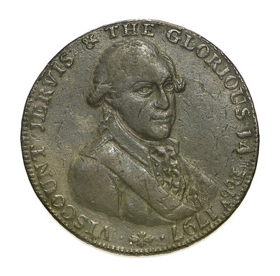 A Portsmouth halfpenny token commemorating John Jervis, Earl St Vincent (1735-1823) and the Battle of Cape St Vincent, 1797; obverse by unknown - print