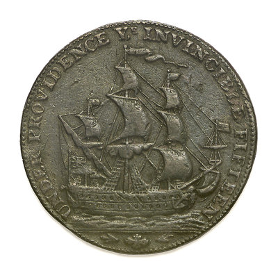 A Portsmouth halfpenny token commemorating John Jervis, Earl St Vincent (1735-1823) and the Battle of Cape St Vincent, 1797; reverse by unknown - print