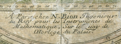 Astrolabe: detail of signature by Nicolas Bion - print