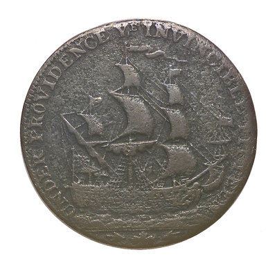 A Portsmouth halfpenny commemorating John Jervis, Earl St Vincent (1735-1823) and the battle of Cape St Vincent, 1797; reverse by J. Pitt - print