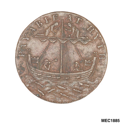 Cinque Ports halfpenny token by Arnold; W. Lutwyche - print