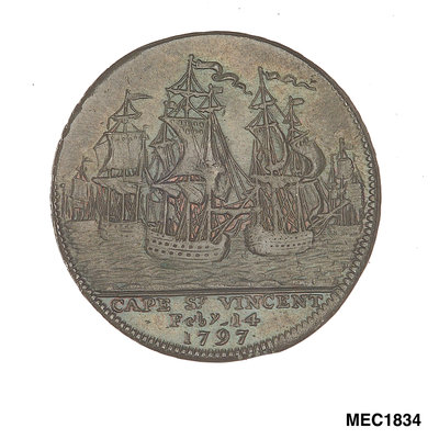 Portsmouth halfpenny token commemorating John Jervis, Earl St Vincent (1735-1823) and the battle of Cape St Vincent, 1797 by unknown - print