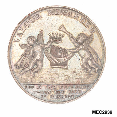Medal commemorating John Jervis, Earl St Vincent (1735-1823) and the battle of Cape St Vincent, 1797 by unknown - print