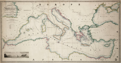 General chart of the Mediterranean Sea including the Gulf of Venice, Archipelago and part of the Black Sea with the steampacket routes by James Wyld - print