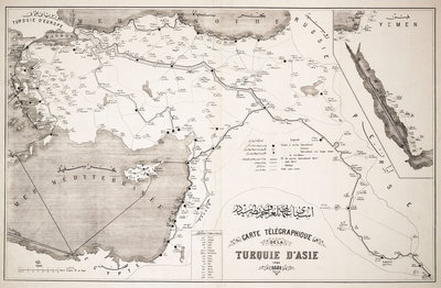Map of Turkey showing telegraph cables and stations by Anonymous - print