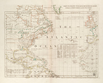 Chart of the Atlantic Ocean, with the British, French & Spanish settlements in North America and the West Indies by Thomas Jefferys - print