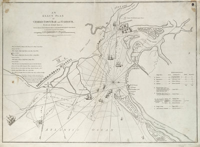 An exact plan of Charles Town bar and harbour, from an actual survey with the attack of Fort Sullivan, on the 28 June 1776, by His Majesty's squadron commanded by Sir Peter Parker by Sayer & Bennett - print