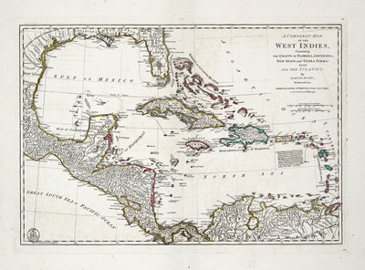 A complete map of the West Indies containing the coasts of Florida, Louisiana, New Spain and Terra Firma with all the islands by Samuel Dunn - print