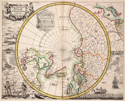 Polar projection map with Arctic Circle by John Seller - print