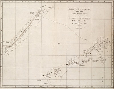 Chart of discoveries made in the South Pacific Ocean in his majesty's ship 'Resolution' under the command of Captain Cook by James Cook - print